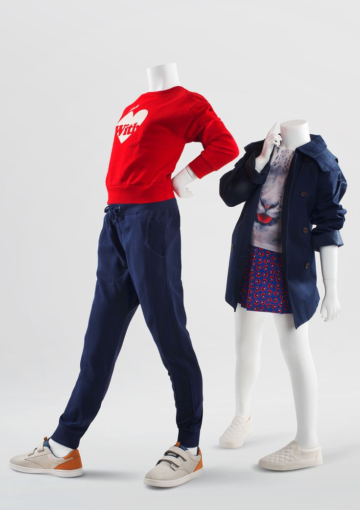 800 SERIES - Headless. Abstract collection of children mannequins. Distinguishing feature is the shape of the mannequin head. #WindowDisplay #junior #headless