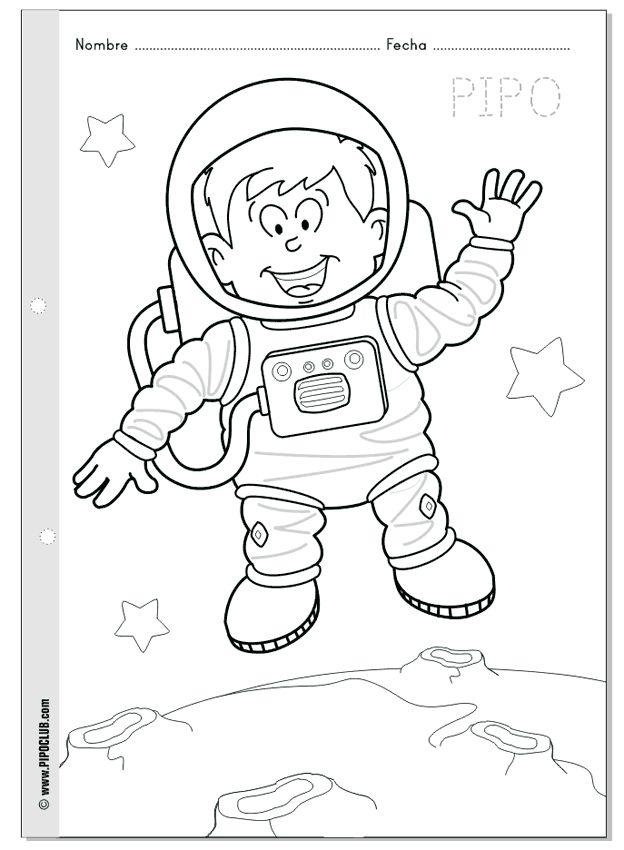 Pipo astronauta - Colorea a Pipo en el espacio - Semana Mundial del Espacio