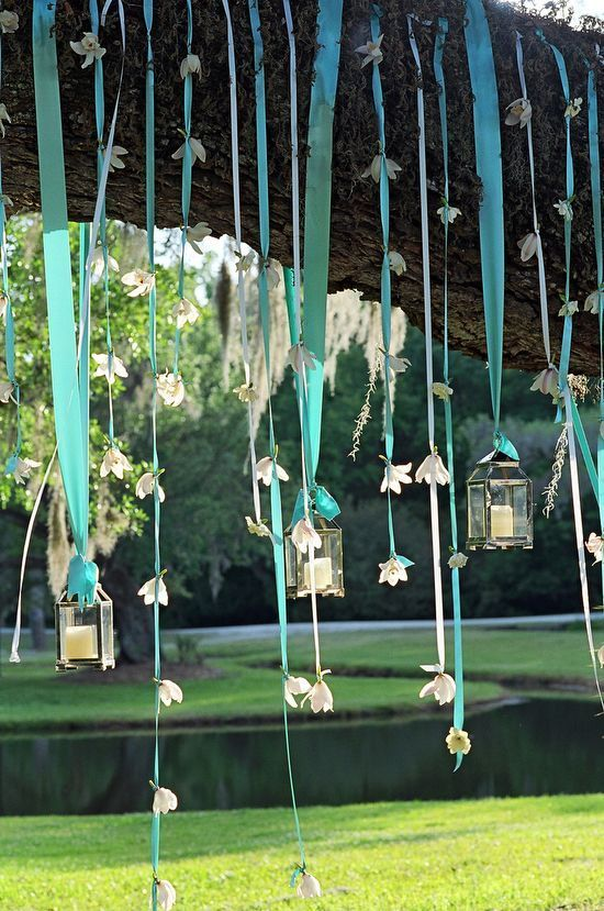 Tiffany Blue Ribbon with Hanging Flowers from a Tree or a Doorway :)
