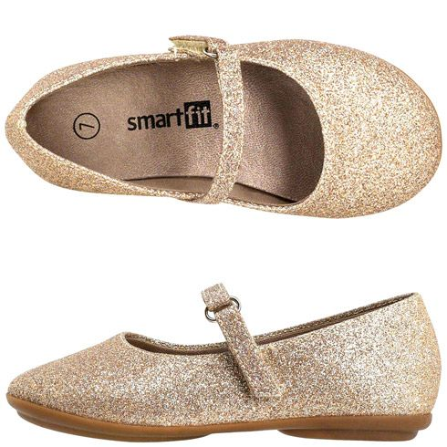 Girls SmartfitGirls' Toddler Glitter Ballet Flat from Payless. These are cute flats for the flower girl.