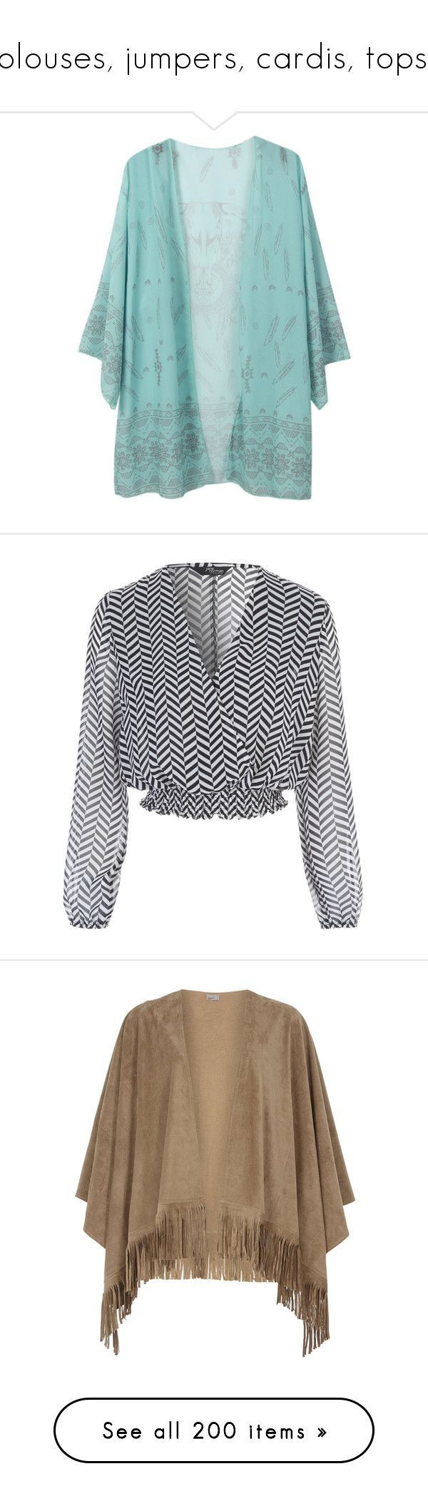 """""""blouses, jumpers, cardis, tops."""" by julidrops ❤ liked on Polyvore featuring kimono, tops, outerwear, blouses, chevron blouses, chiffon tops, chevron print blouse, chevron print tops, chiffon blouses and white"""