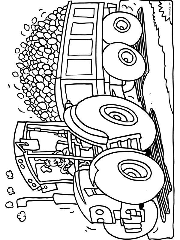 kleurplaat tractor met heel veel paaseieren kleurplaten