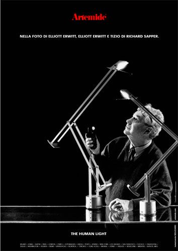 #TheHumanLight by Artemide, ADV campaign 2002 Photo by Elliott Erwitt Agency. With #Tizio lamps, #design Richard Sapper