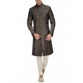 Black Brocade Sherwani