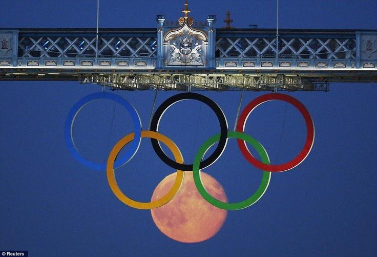 Olympic rings + Tower Bridge + full moon