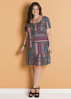 892e4378e Vestido Étnico com Babado Plus Size Marguerite - Marguerite | Saias ...