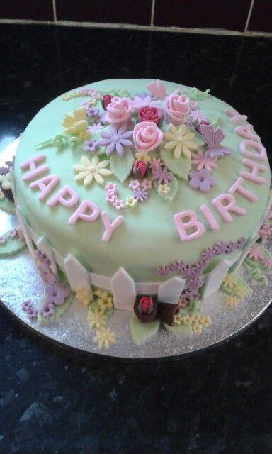 Garden birthday cake by Gill x
