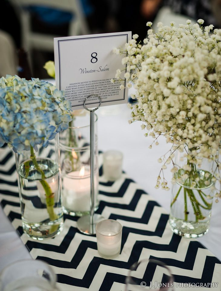 chevron table runner baby 39 s breath blue hydrangeas votives navy preppy wedding wedding. Black Bedroom Furniture Sets. Home Design Ideas