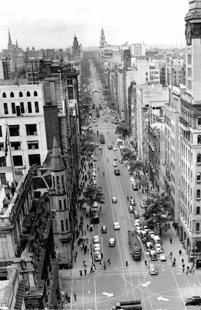 Aerial photo of Collins St,Melbourne in 1956.