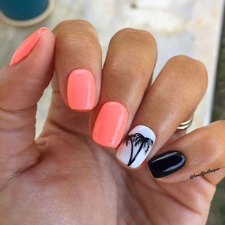 Trends nagels 2019. Heldere neon koraal neon nagels met palmbomen getekend met …