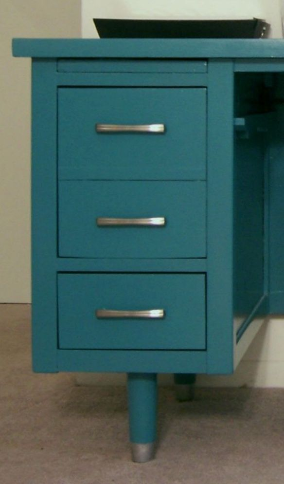 DY painted Vintage Wood Tanker Desk paint makeover to teal and silver home office workspace MCM The Decor Guru
