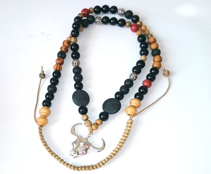 Onix and jasper gemstone necklace Gift for him Man necklace Bull pendant Semi-precious stone jewel for men Handmade Mineral jewel by dorijewelnook on Etsy