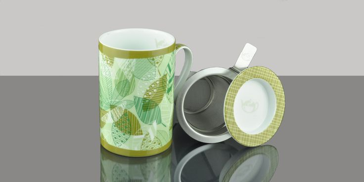 Mug Cylinder Autumn Leaves Green
