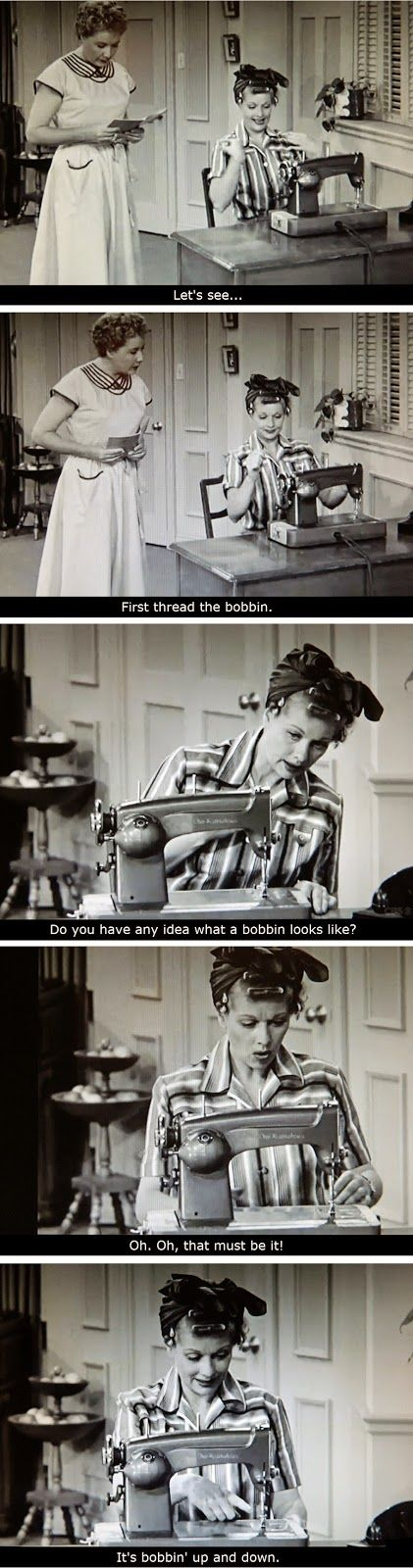 I Love Lucy: Lucy & Ethel - Lucy Learns to Sew - BuzzinBumble: Vintage Sewing & Fun