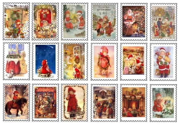 Christmas Mini Printables Postage Stamps
