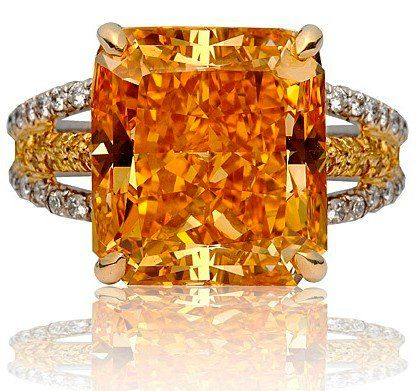 The famous Pumpkin Diamond, a Fancy Vivid Orange diamond is one of the most famous orange diamonds, with a finished weight of 5.54 carats. Bought and sold by the famous Harry Winston Jewelers.  WOW