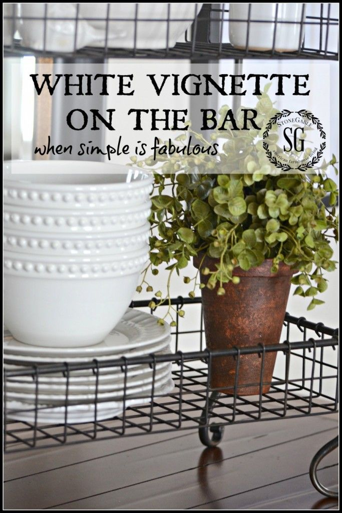 WHITE VIGNETTE ON THE BAR-when simple is fabulous stonegableblog.com