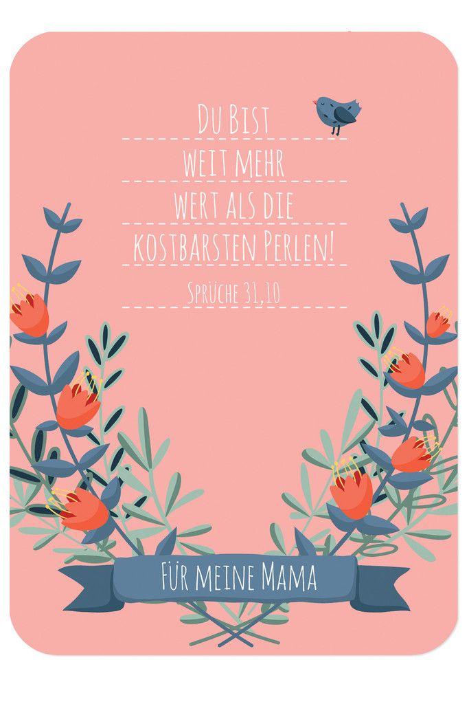 """Postkarte - Muttertag, Bibelvers auf der Karte: """"Du bist weit mehr wert als die kostbarsten Perlen!"""" - Sprüche 31,10"""