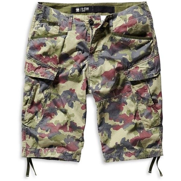 G-Star Raw Rovic Loose Camouflage Shorts (200 NZD) ❤ liked on Polyvore featuring men's fashion, men's clothing, men's shorts, army green, mens cotton shorts, mens camouflage shorts and mens camo shorts