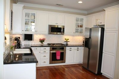 Kitchen MakeoverDecor Ideas, Dreams Kitchens, Small Kitchens, Kitchens Ideas, Black White,  Microwave Ovens, White Subway Tiles, White Cabinets, White Kitchens