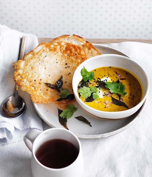 Dosas with coconut lentil curry