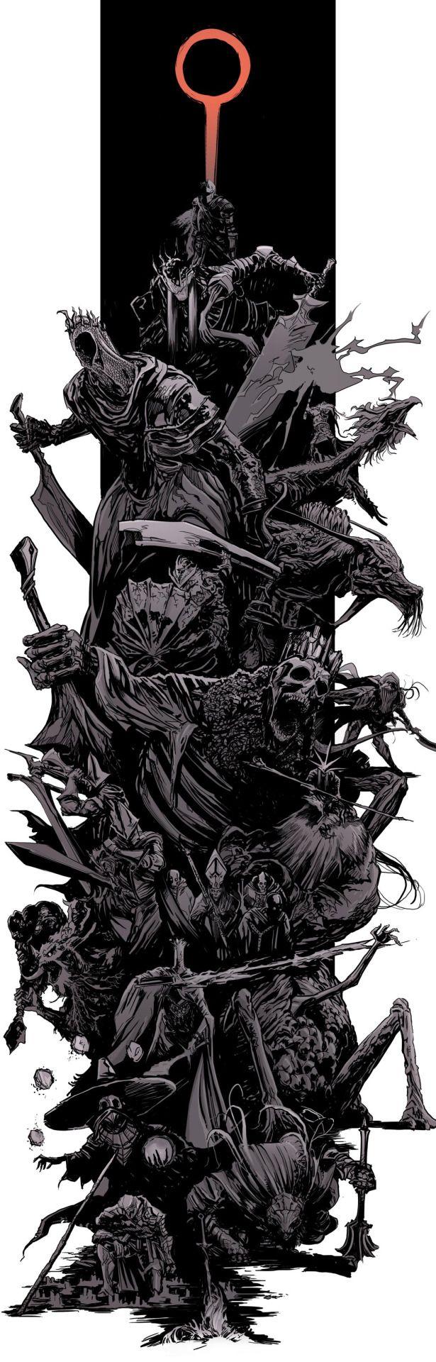 """darksoulsartblog: """" DarkSouls3 - bosses splash by uger """"                                                                                                                                                     More"""