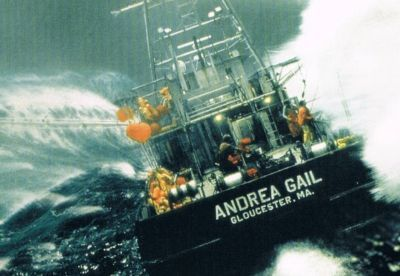 "The Andrea Gail was a commercial fishing vessel that was lost at sea with all hands during the ""Perfect Storm"" of 1991. The vessel and her six-man crew had been fishing the North Atlantic Ocean out of Gloucester, Massachusetts. Her last reported position was 180 mi (290 km) northeast of Sable Island on October 28, 1991. The story of Andrea Gail and her crew was the basis of the 1997 book The Perfect Storm by Sebastian Junger, and a 2000 film."