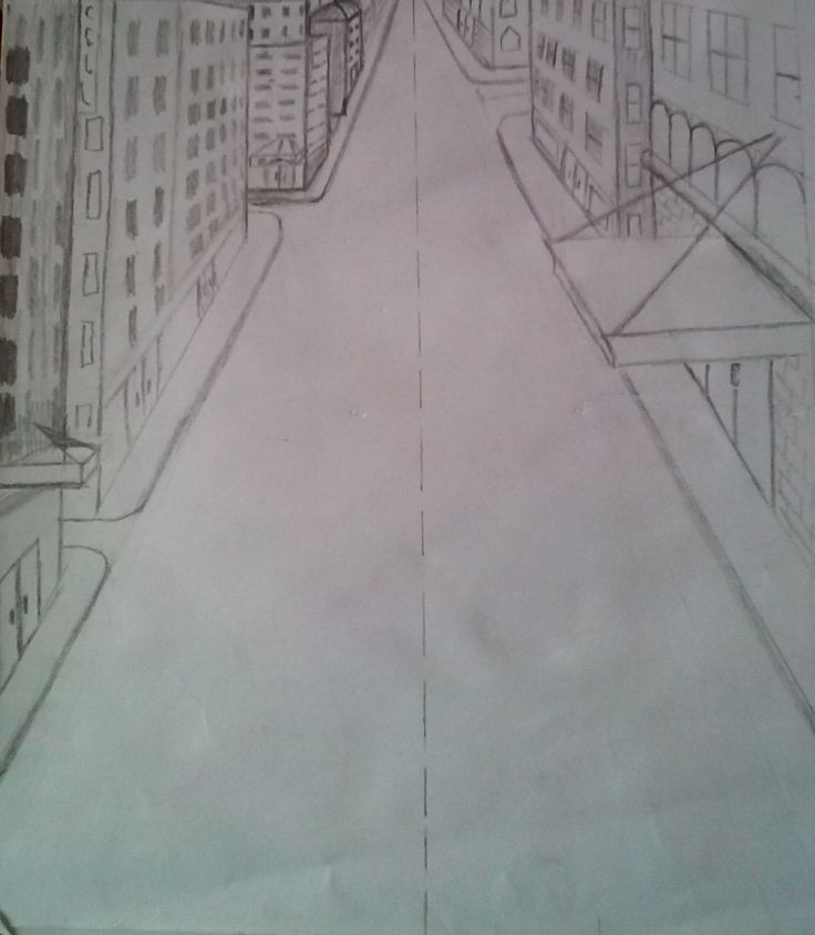 One point perspective pencil sketch.
