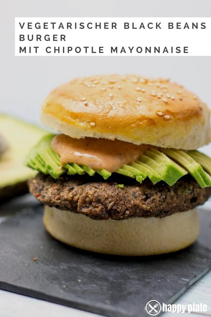Vegetarischer Black Beans Burger mit Avocado