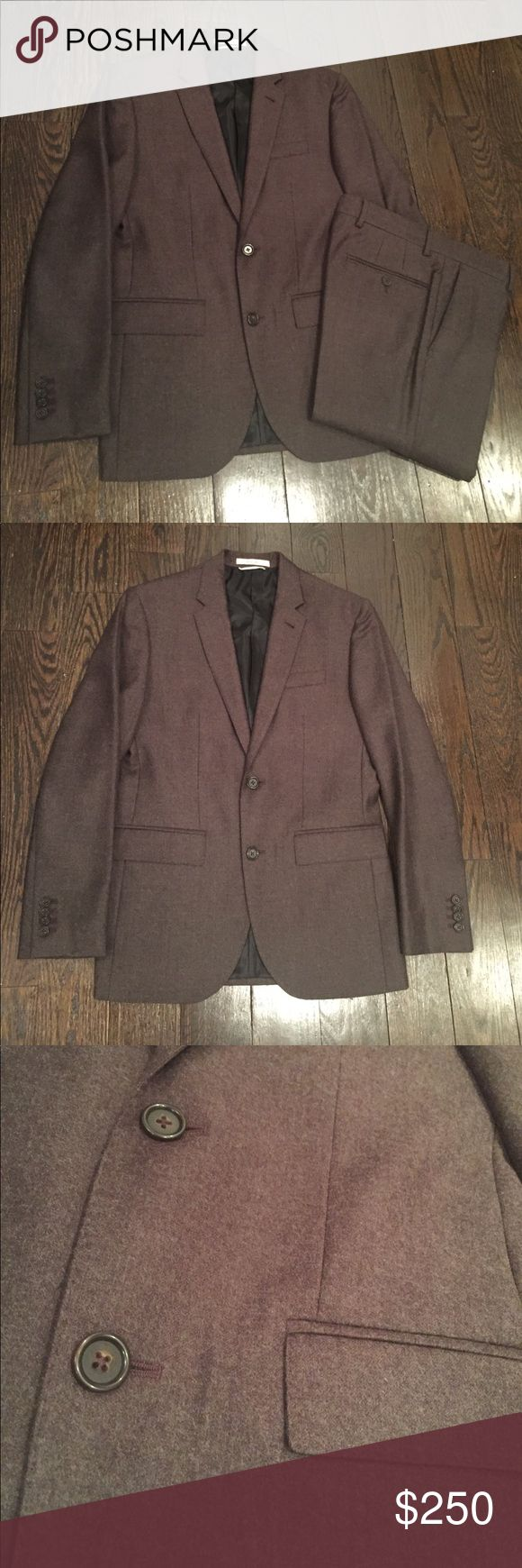 Club Monaco Slim Fit Flannel Suit 100% premium wool, this chocolate brown slim fit Flannel suit, 36S is very smooth fellas. Great condition, worn only ONE time ☝ Interior storage pockets, lined with functional button cuffs and double vented. Pants with built in cuff, button fly 28x29.5 length/ no break. Wear it to an evening wedding or pair the Blazer with my RRL Indigo Denim (see in closet) for a dinner party. Let's go  Club Monaco Suits & Blazers Suits