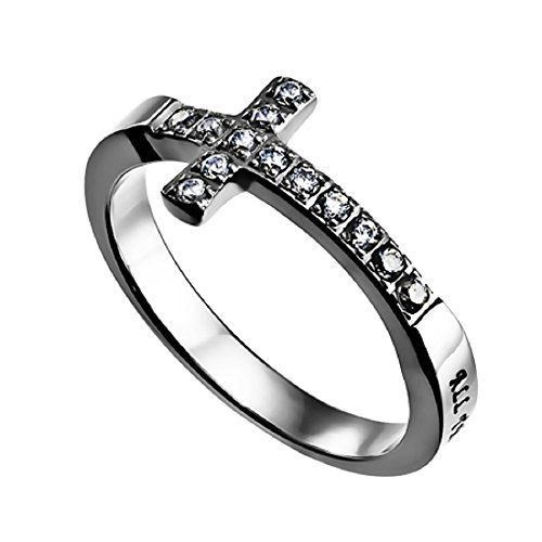 Sideways Cross Ring Christ My Strength Philippians 4:13 Sizes 5 to 9