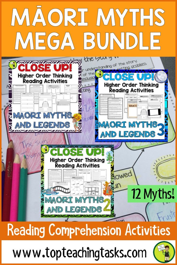 Māori Myths and Legends Reading Comprehension Passages with Questions MEGA BUNDLE. This resource has everything a teacher needs for a unit on Māori Myths and Legends. Differentiated Reading Passages along with Close Reading activities make this unit of study interesting and engaging for students. #Reading #myths #ReadingIdeas #TeachingIdeas #YearFive #YearSix #HigherOrderThinking #Maui #MaoriMyths