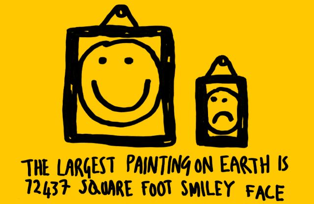 The largest painting on earth is a 72437 square foot smiley