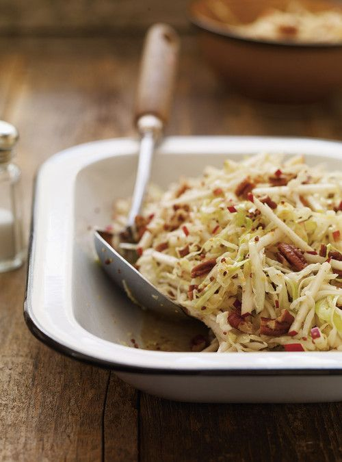 Apple and Pecan Coleslaw - Double the dressing... delicious with goat cheese.