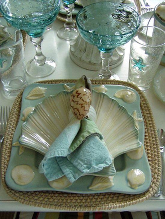 Beach tablescape …   She sells sea shells…