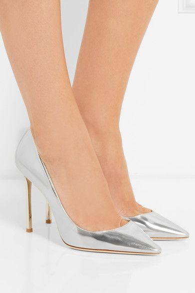 Heel measures approximately 100mm/ 4 inches Silver mirrored-leather Slip on Made in Italy