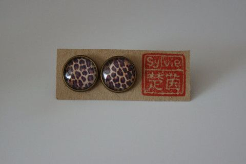 Handmade Leopard Print Glass Dome Cabochon Stud Earrings