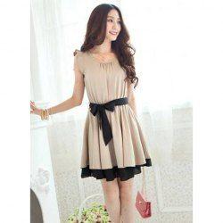 $7.62 Sweet Flouncing Sleeve Dress with Belt Embellished for Women