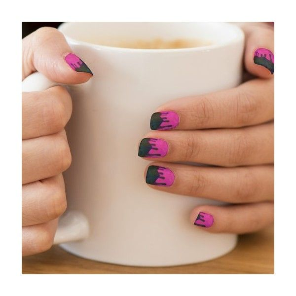 Toxic Drip Oil Slick Hot Rod Pink Minx Nails Minx Nail Wraps ($20) ❤ liked on Polyvore featuring beauty products, nail care and nail treatments