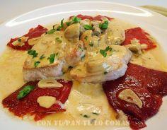 Solomillo de cerdo con pimientos y salsa de champiñones #comidas