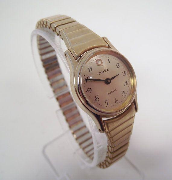 Vintage 1985 Timex Q Quartz Retro Goldtone Woman's by RetroReRun, $32.00