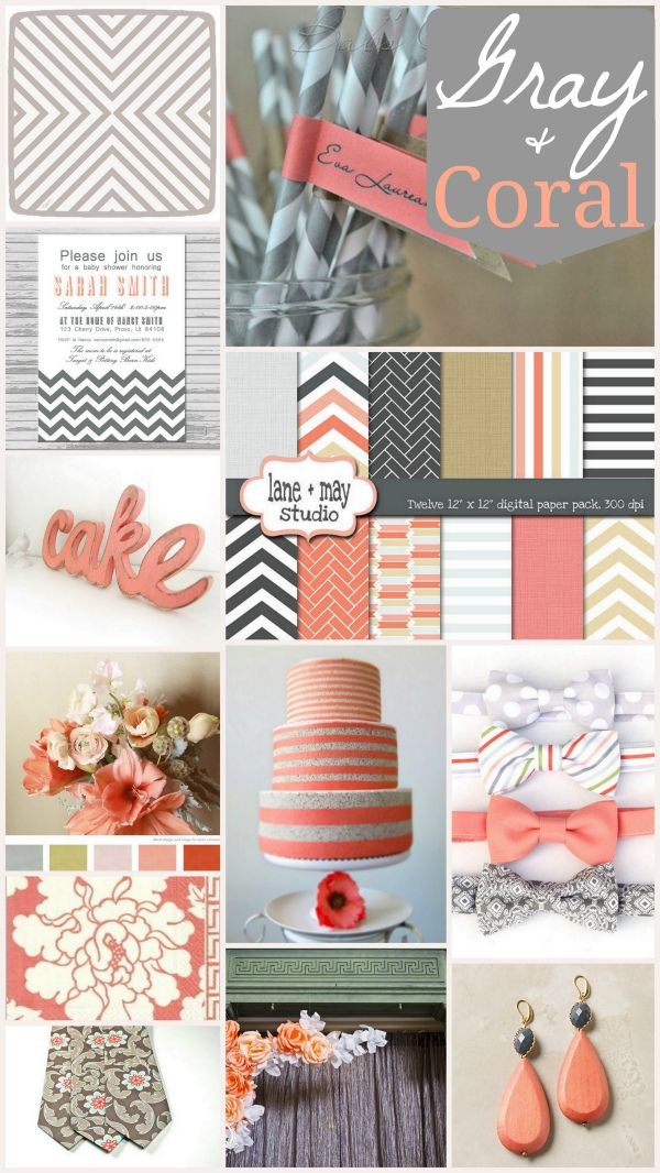 Gray & Coral Party Decor: Rooms Gray, Color Schemes, Entertainment Inspiration, Coral Wedding Colors, Colors Combinations, Little Girls Rooms, Living Rooms Colors, Colors Schemes, Coral Color