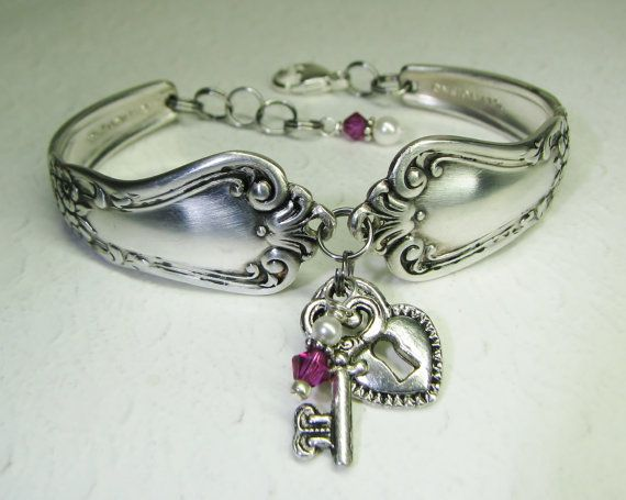 Silver Spoon Bracelet, Silver Heart Lock & Key, Fuchsia Crystals, White Pearls, Valley Rose 1956, Spoon Jewelry