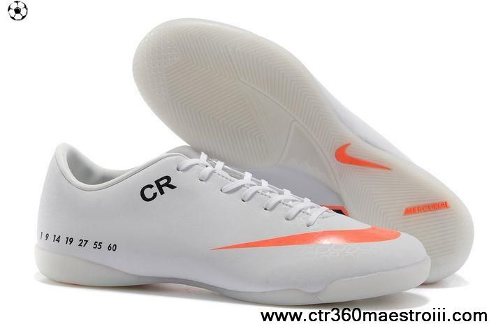 Buy 2013 New Nike Mercurial CR7 personal IC indoor white orange Soccer Boots For Sale