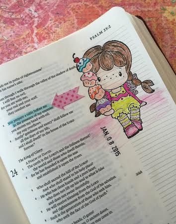 """Bible journaling - by Linda Neal - """"He prepares a table for me in the presence of my enemies."""" (Psalm 23:5, ESV) #illustratedfaith"""