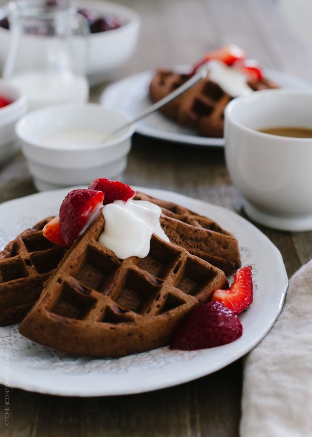 Chocolate Buttermilk Belgian Waffles | www.kitchenconfidante.com | Sweeten your weekend!