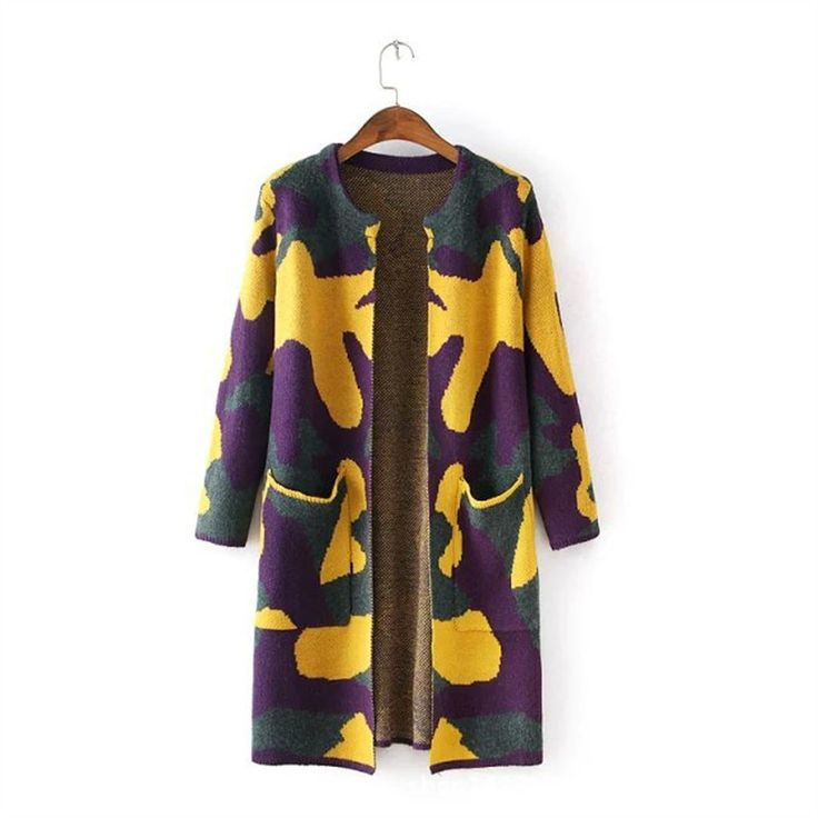 autumn winter new leisure simple camouflage print long-sleeved knit long sweater coat Cardigan purple yellow gray