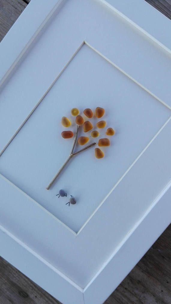 Pebble art Sea glas art Sea glass image Pebble art tree