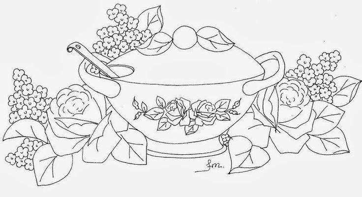 desenho de sopeira com rosas para pintura em tecido