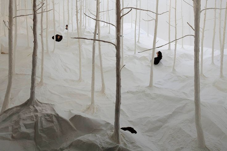 A Forest Made From Washi Paper by Takashi Kuribayashi